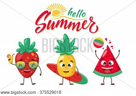 Set Of Fruit Characters. Watermelon With Beach Ball, Pineapple With Surfboard And Strawberry In Sung
