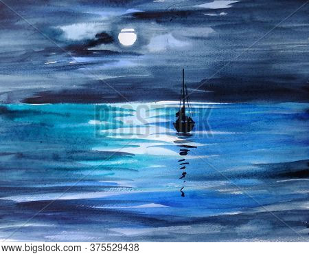 Lunar Night With Sailboat Watercolor Handmade Painting