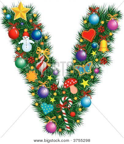 Alphabet Letter V - Christmas Decoration