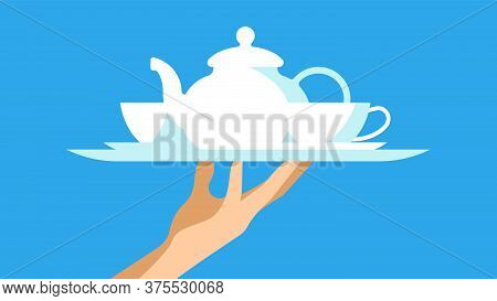 The Waiter Is Holding Tea On A Tray. Set Of Porcelain Tableware: Teapot, Cups, Saucers. Vector Illus