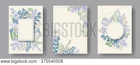 Hand Drawn Herb Twigs, Tree Branches, Leaves Floral Invitation Cards Collection. Bouquet Wreath Rust