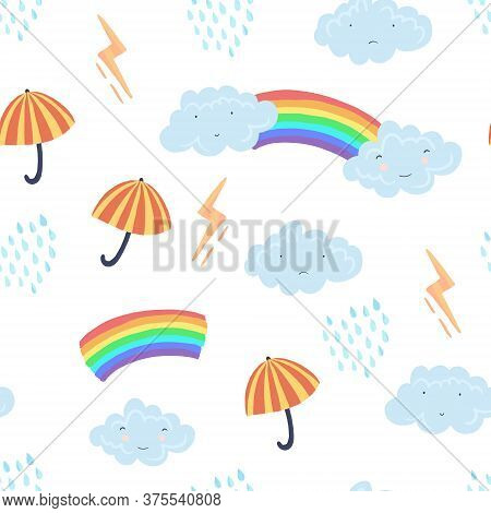 Cute Light Seamless Pattern With Textured Cartoon Weather Elements. Funny Vector Clouds, Umbrella, R