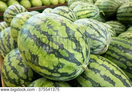 watermelon stacked on the marketplace at Taiwan