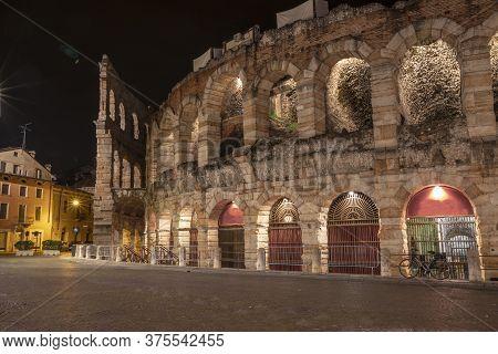 Verona Arena, Roman Amphitheater In Verona, Italy.