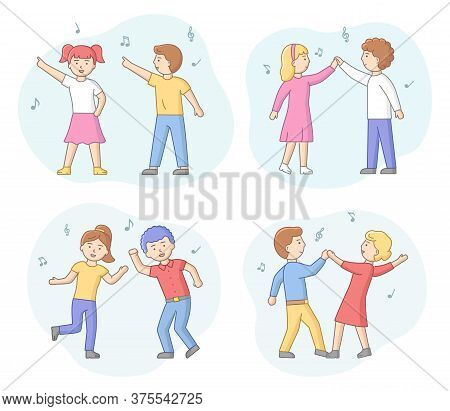 Concept Of Dance Party. Group Of Fashion People Are Dancing Together. Satisfied Couples In Different