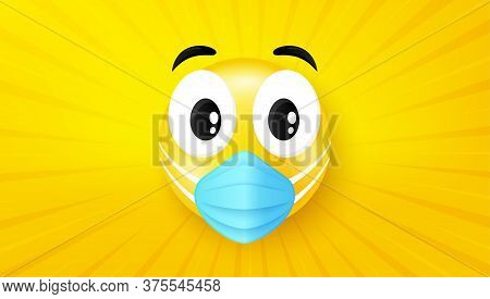 Emoji With Medical Face Mask. Emoticon With Mouth Protection Mask. Danger Virus Disease. Cartoon Doc