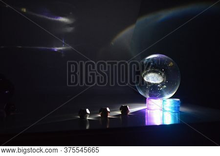 Light Play With Lense Ball, Torch And Metalic Objects