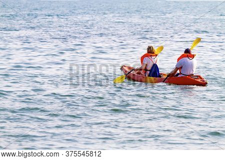 Traveler Play Small Boat At Beach Koh Chang Thailand. Koh Chang Is Located In The Eastern Gulf Of Th