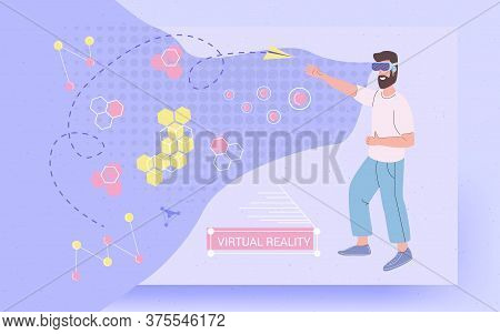 Virtual Reality Vr Glasses Invented World, Vector Concept Illustration. A Man Catches A Paper Airpla