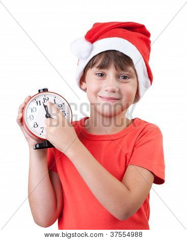 Smiling Girl In A Santa Claus Hat
