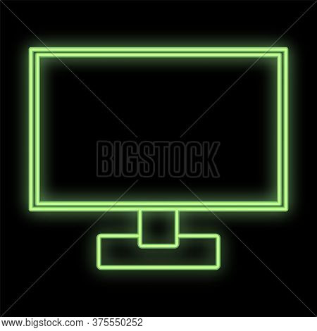 Bright Luminous Green Digital Neon Sign For Shop Or Workshop Service Center Is Beautiful Shiny With