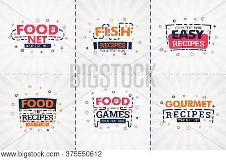 Cooking Book Set For Food And Recipe Magazines. Restaurant Menu Titles Or Badges For Food Stores And