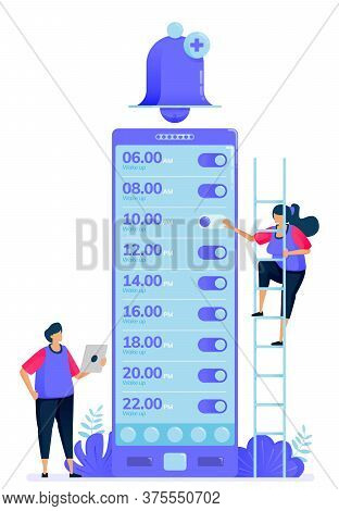 Vector Illustration For Checklist Of Alarm Apps To Wake Up. Ring Bell Apps To Remind And Warn. Can B