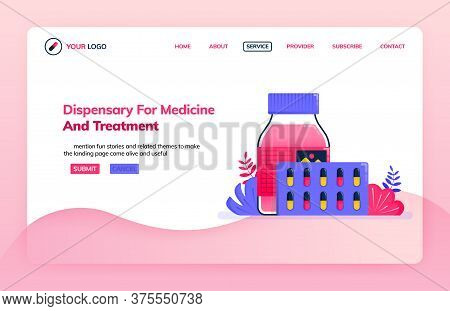 Landing Page Illustration Template Of Dispensary For Medicine And Treatment. Drugs For Health Servic