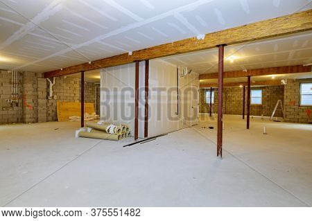 Unfinished Basement Framing Interior Wall New Home Construction