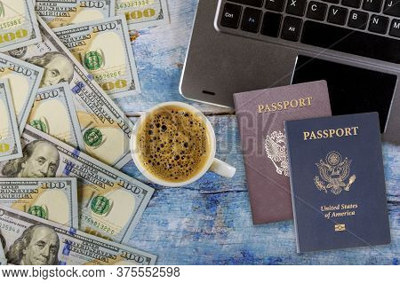 Workstation Office Desk Table With Laptop Computer American And Russian Passports, Espresso Coffee A