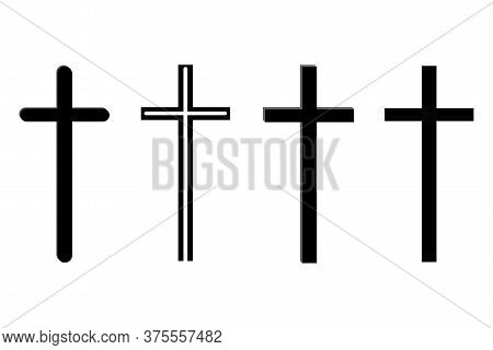 Vector Image Of Crosses. Thin Crucifix. Outline Religious Sign.