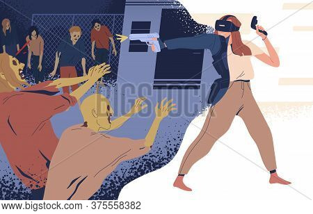 Modern Woman In Virtual Reality Glasses Shooting On Zombie Vector Illustration. Female With Gun Play