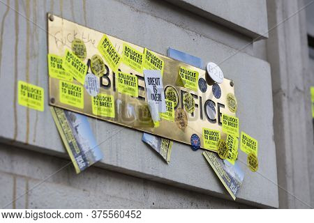 London, Uk - March, 2019: The Uk Cabinet Office Covered In Anti Brexit Stickers