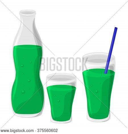 Glass And Bottle. Soft Carbonated Drink. Vector Illustration Isolated On White Background.