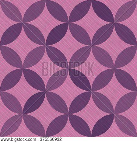 Interlacing Circles Parts Arabic Seamless Vector Pattern. Guatrefoil Flower Purple Medieval Endless