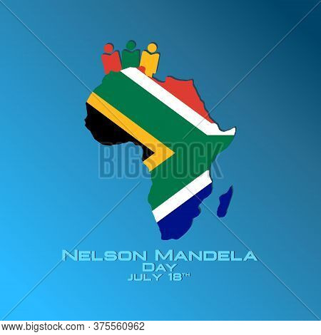 Vector illustration,banner or poster of Nelson Mandela Day. Flag of South Africa in the shape of a African continent. Nelson Mandela Day concept.