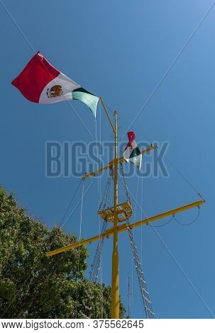 Mexican Flag On A Sailing Mast In Chetumal, Mexico