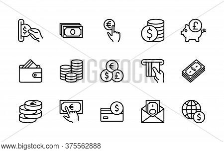 Money And Payment Linear Set Of Vector Icons. Contains Linear Icons Such As Cash, Wallet, Coins, Pig