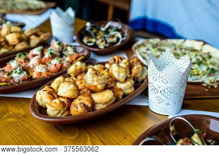 Party Brunch Fingerfood Big Buffet Table Setting With Food Meat Vegetables