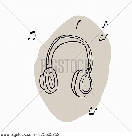 Headphones Drawn With Brush And Ink. Black And White Wireless Full-size Closed Earphones. Headphones