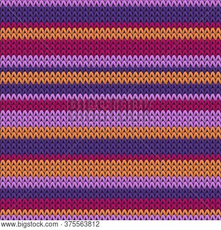 Macro Horizontal Stripes Knitted Texture Geometric Seamless Pattern. Pullover Knit Tricot  Fabric Pr