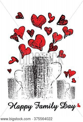 Happy Family Day Five Cups With Red Hearts Vector Illustration, Screensaver On Smartphone