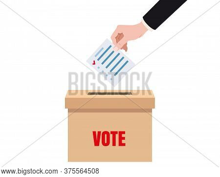 Hand Putting Voting Blanc Paper In Vote Box, Ballot Campaign. Vector Isolated Illustration