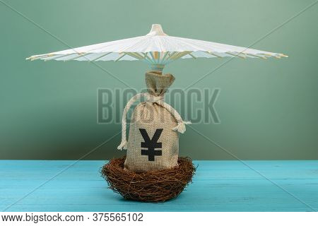 Rmb Money Bag On A Nest And Sheltered By An Umbrella Concept Of Safety Investment Of Rmb Currency