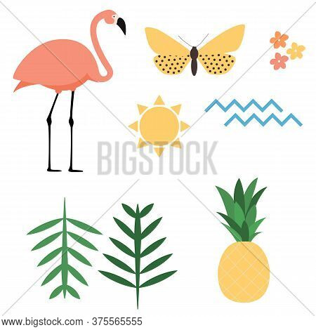 Flamingo, Sun, Butterfly, Flower, Palm Leaf, Ananas Amd Sea Wave Icons Set On White Background. Vect