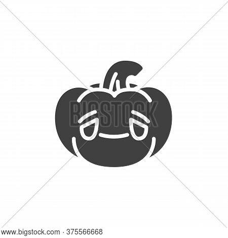 Grinning Pumpkin Face Emoji Vector Icon. Filled Flat Sign For Mobile Concept And Web Design. Sad Pum