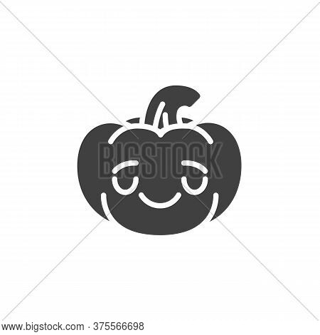 Relieved Pumpkin Face Emoji Vector Icon. Filled Flat Sign For Mobile Concept And Web Design. Hallowe