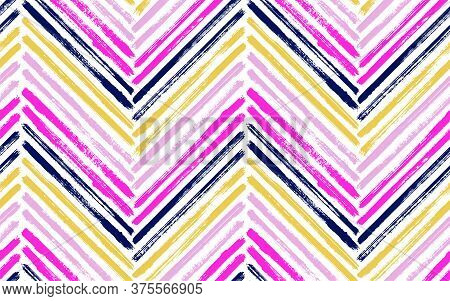 Beautiful Chevron Fashion Print Vector Seamless Pattern. Ink Brushstrokes Geometric Stripes. Hand Dr