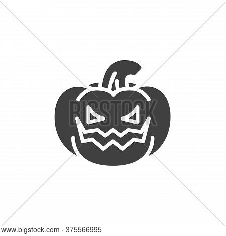Pumpkin With Angry Face Emoji Vector Icon. Filled Flat Sign For Mobile Concept And Web Design. Crazy