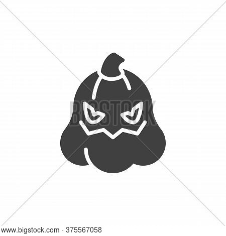 Spooky Halloween Pumpkin Face Emoticon Vector Icon. Filled Flat Sign For Mobile Concept And Web Desi