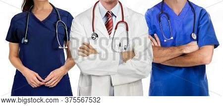 Medical Workers Team With Cross Arms On White Background