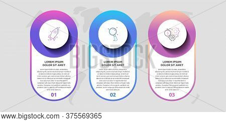 Vector Template Circle Infographics. Business Concept With 3 Options And Parts. Three Steps For Cont