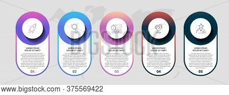 Vector Template Circle Infographics. Business Concept With 5 Options And Parts. Five Steps For Graph