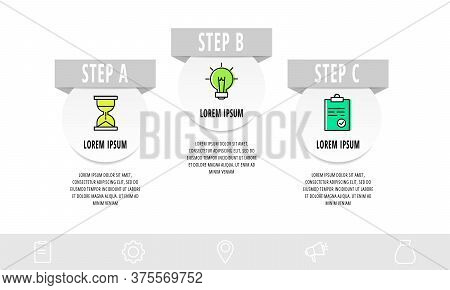 Infographics Circular With 3 Steps, Parts, Icons. Flat Vector Template. Can Be Used For Diagram, Bus