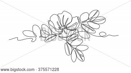 Flower Of Wild Rose With Leaves, Element Of Thorny Bush, Ornament, Pattern For Logo Or Emblem, Vecto