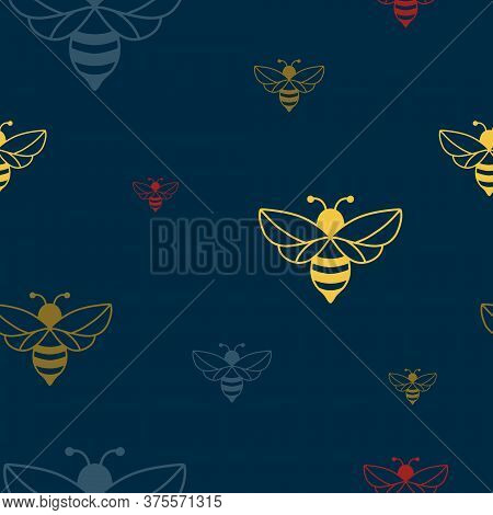 Seamless Pattern Of A Bee. Can Be Used As An Illustration For World Bee Day In May 20.  For The Visu