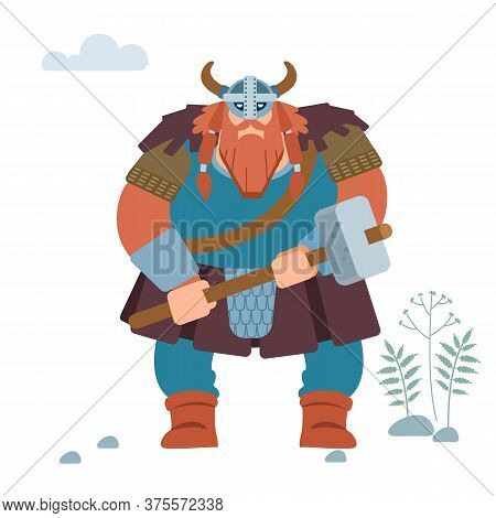 Viking. Warrior Northerner. Medieval Viking Armored Attack With A Battle-ax. Vector Isolated On Whit