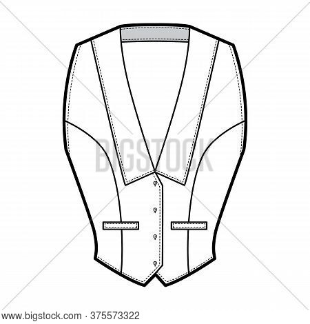 Halterneck Vest Technical Fashion Illustration With Deep V Neck, Fitted Body, Front Button Fastening