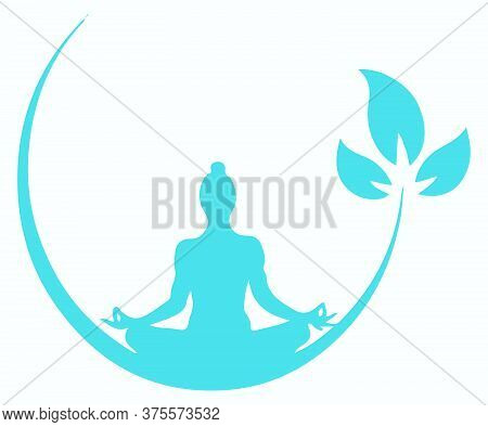 Drawing Or Sketch Of Lord Buddha Doing Meditation With Half Moon Shape Circle And Three Leaves Edita