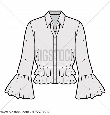 Shirt Technical Fashion Illustration With Peplum Hem, Collar With Stand, Long Sleeves, Voluminous Fl
